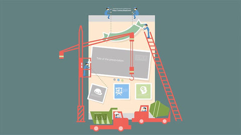 Buildings and workers construction Prezi template