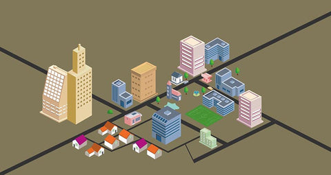 Isometric city Prezi template