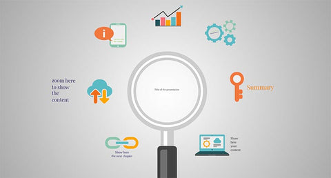 Infographic Prezi template with magnifying glass