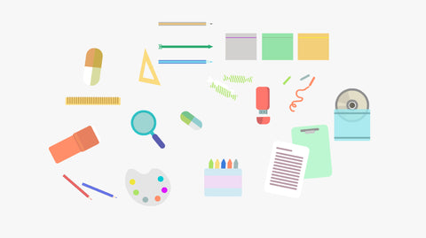20 school things SWF vector graphics for Prezi