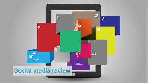 Social media review with tablet Prezi template
