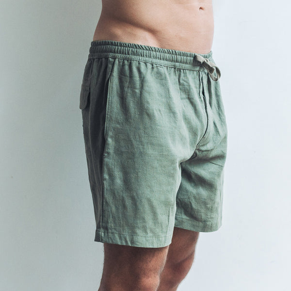 LINEN SHORTS | dark khaki