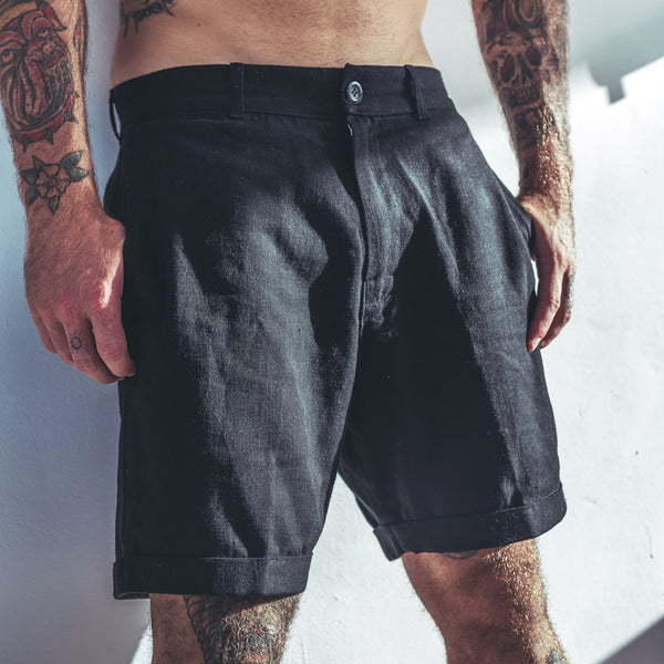 LUX LINEN SHORTS | black