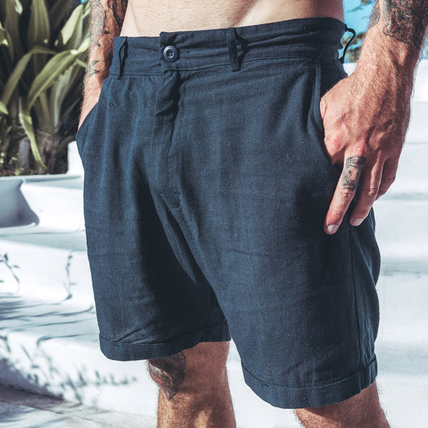 LUX LINEN SHORTS | navy