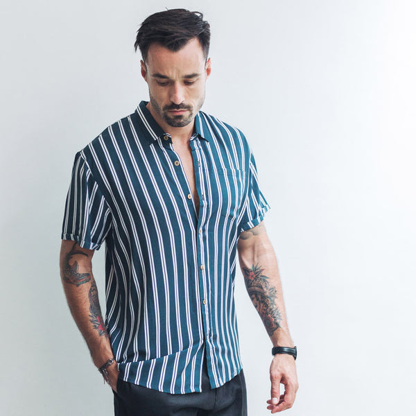 CASUAL SHIRT | double navy stripes