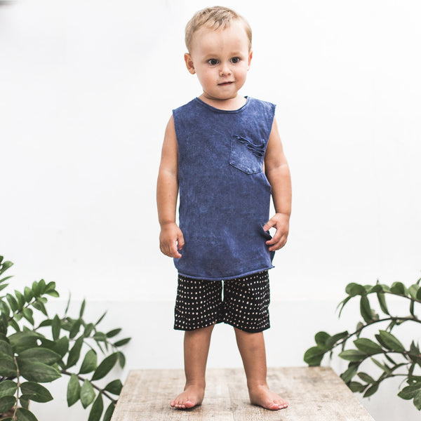 LITTLE RIPPER MUSCLE | navy wash