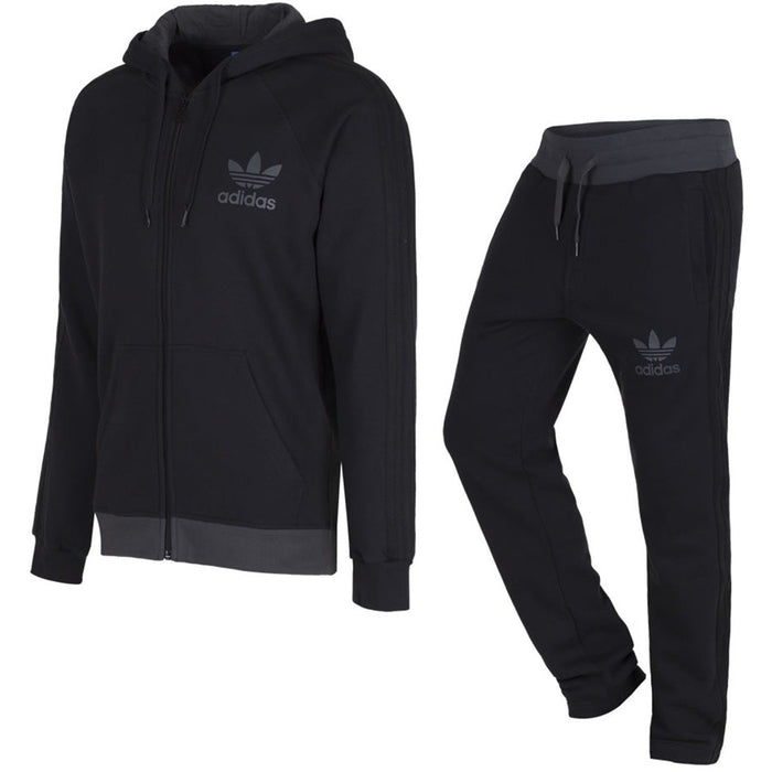 2d261b48486e5 adidas Originals Trefoil Fleece Tracksuit - Black - Trade Sports