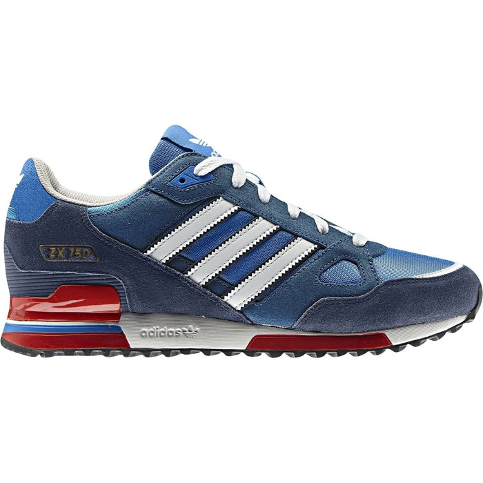 brand new c3caf 897b7 ... adidas Originals ZX 750 Trainers Blue Red - Side ...