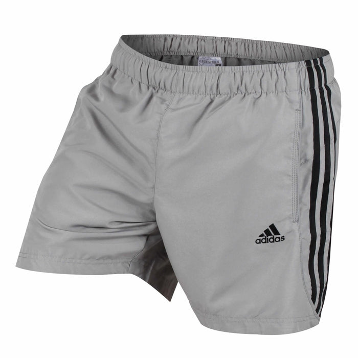 ... adidas 3 Stripe Men s Training Shorts Grey Black - Profile S17883 ... a9eb91091