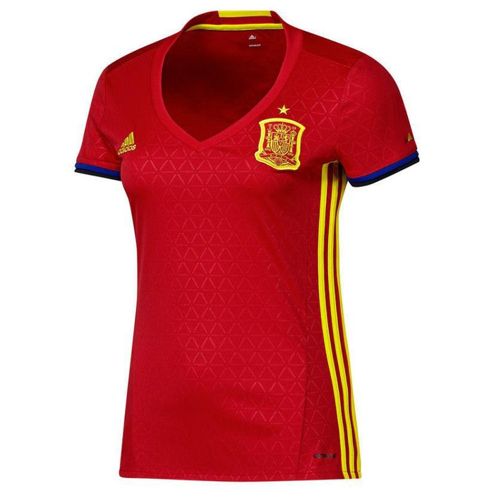 ... adidas Women s Spain National Football Team 16 17 Home Jersey - Red -  front ... 42fb5a1be
