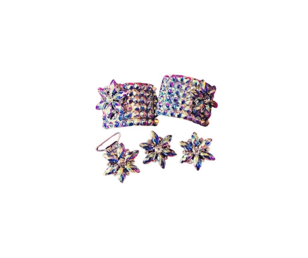 Buckles earrings and number clip flower set Deal Sale £5 off now £44.99-Rhinestone HQ