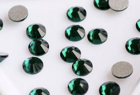 Emerald Green Hotfix Flat back rhinestones