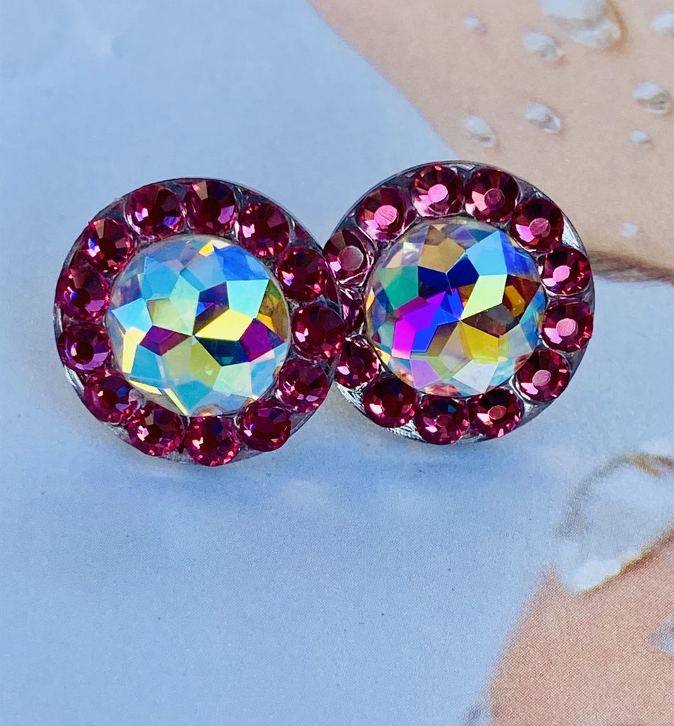 Mini Galactic deluxe Earrings 15mm-Rhinestone HQ