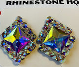 Rio Earrings Studs with Crystal ab centre square-Rhinestone HQ