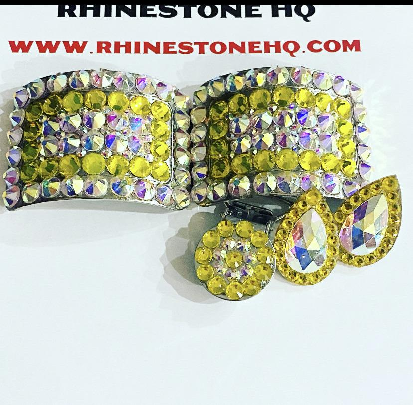 Irish dance Gift Deal Set Shoe Buckles Earrings & Number clip with your colour choice and Crystal ab-Rhinestone HQ