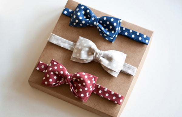 Blue, Grey, Red Polka dot Bow Tie