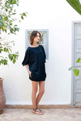 Monorails & Satellites Black Oversized Beach Cover Up