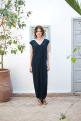 Monorails & Satellites Maxi Dress Handmade Luxury Beach Cover Up In Black
