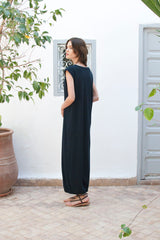 Monorails & Satellites Maxi Dress Handmade Luxury Beach Cover Up In Black From Behind