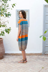 Monorails & Satellites UK Striped Oversized Designer Beach Cover Up From Behind