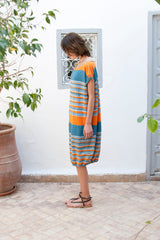 Monorails & Satellites UK Striped Oversized Designer Beach Cover Up From Side