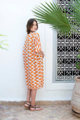 Monorails & Satellites UK Orange And White Bold Print Designer Beach Cover Up From Behind