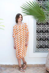 Monorails & Satellites UK Orange And White Bold Print Luxury Beach Cover Up