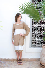 Monorails & Satellites White And Beige Handmade Designer Beach Cover Up Long Sleeves Knee Length