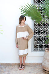 Monorails & Satellites White And Beige Handmade Designer Beach Cover Up Long Sleeves