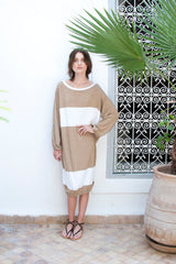 Monorails & Satellites White And Beige Handmade Designer Beach Cover Up