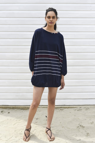 Coco Navy & White Striped Oversized Cover up