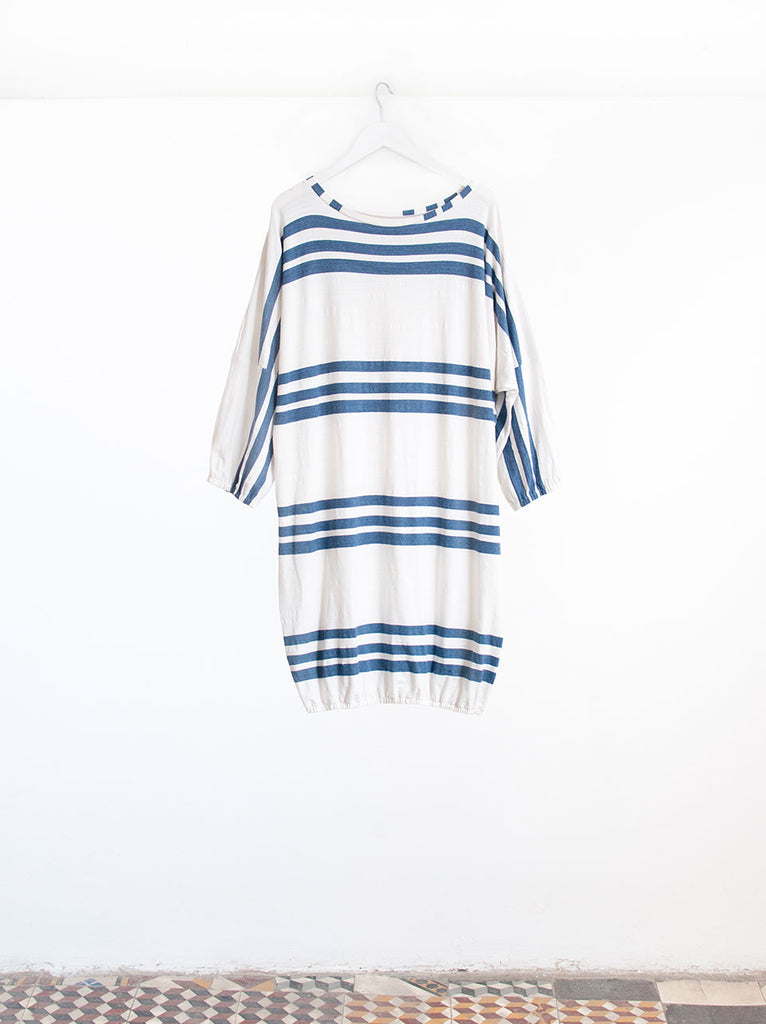 Soran Navy Trio Stripe Oversize Luxury Beach Cover-Up Dress