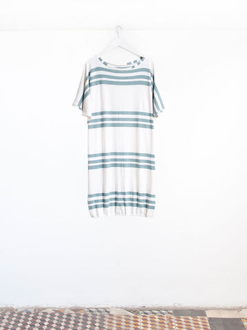 Nora Teal Trio Stripe Mid Sleeve Beach Dress