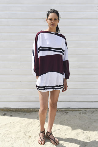 Coco White & Burgundy Striped Oversized Cover up