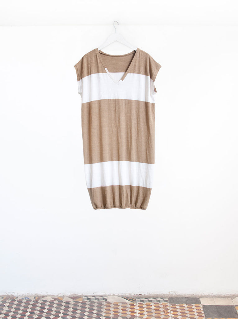 Leila Big Stripe T-shirt Sleeve Beach Cover Up