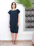 Eve Navy Cotton Midi Designer Beach Cover Up Dress On Model