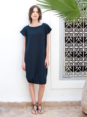 Eve Navy Cotton Midi Beach Dress