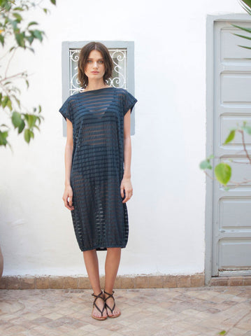 Eve Navy Lurex Stripe Midi Beach Dress - only 1 left, BUY NOW!