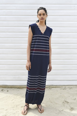 Renée Cotton Navy & White Maxi Beach Dress