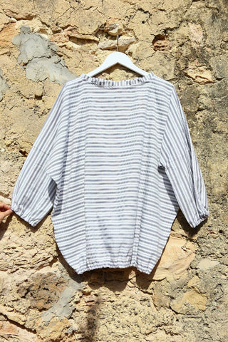 White with Blue Stripes Cotton Oversized Cover up