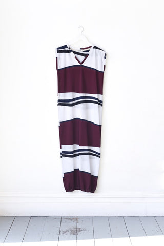 Renée White & Burgundy Stripe Maxi Beach Dress, low stock more coming soon...