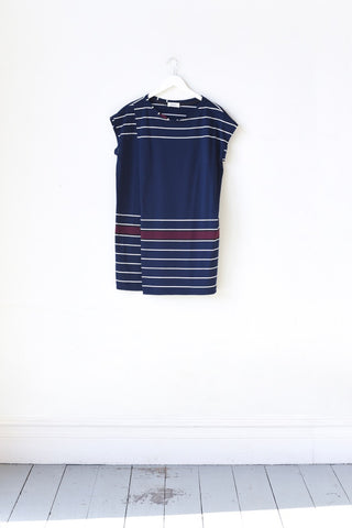 Maggie Navy & White Striped Wrap Mini Dress