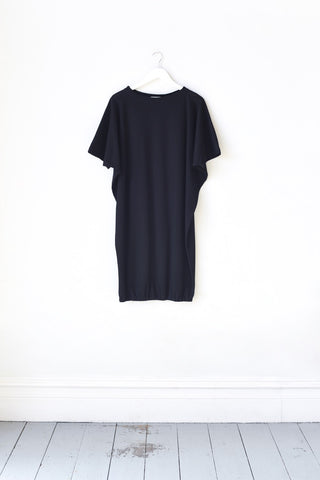 Nora Black Cotton Mid Sleeve Beach Dress