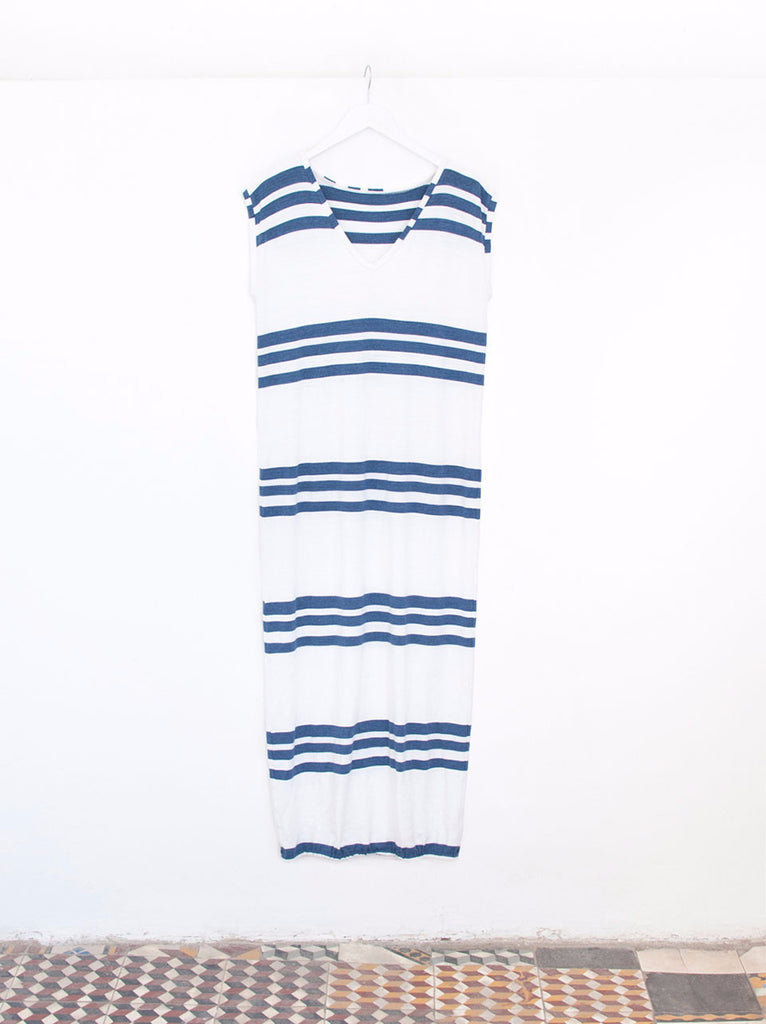 Renée Trio Navy Stripe Maxi Cover-Up Beach Dress