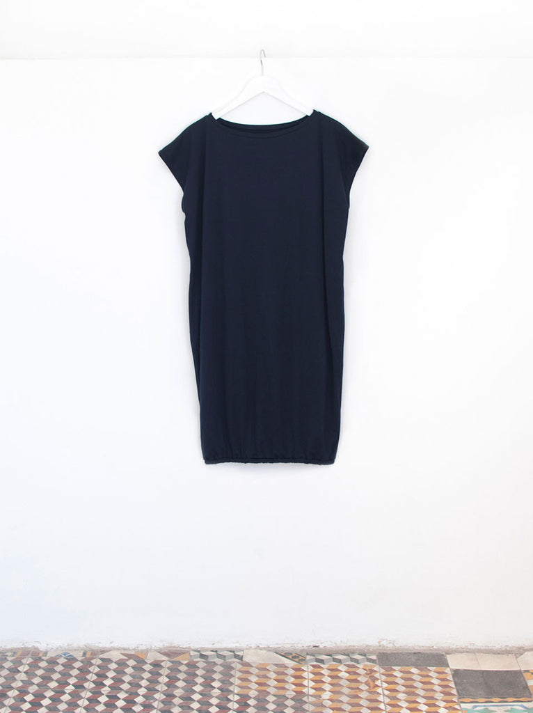 Eve Navy Cotton Midi Luxury Beach Dress