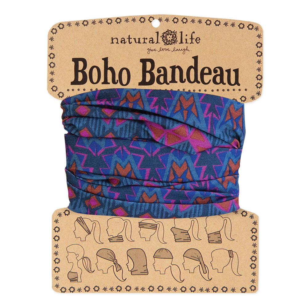 Boho Bandeau with Grey, Rust & Purple Geometric