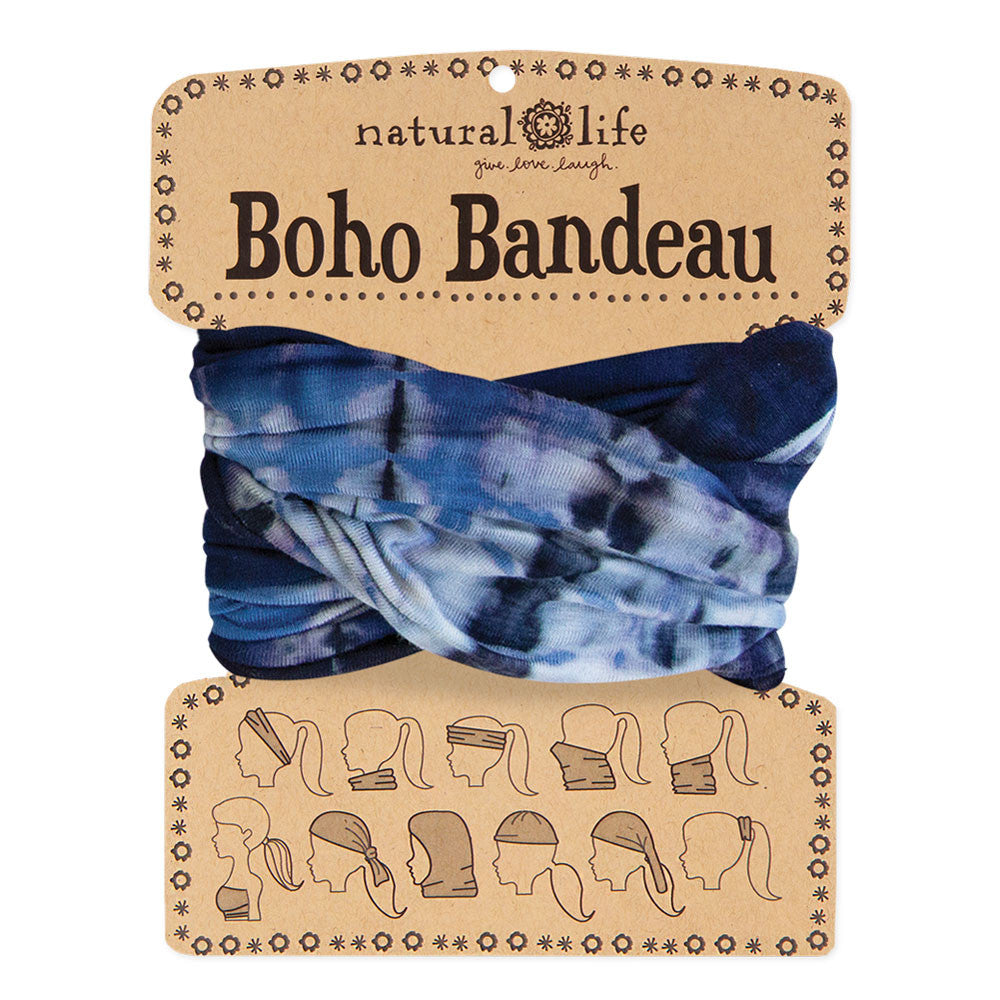 Boho Bandeau in Navy & Denim Tie-Dye