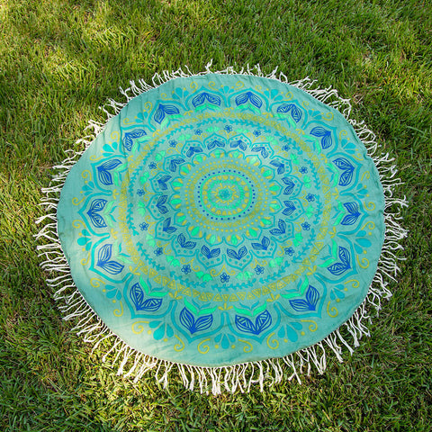 Beach Towel Round Aqua Blue