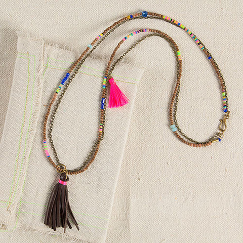 Leather Gypsy Tassel Necklace