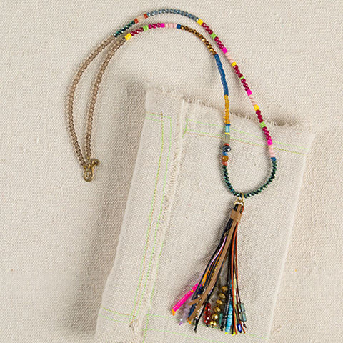 Crystal Bead Gypsy Tassel Necklace